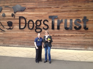 Jean with Sandra, the Manager of the Dogs Trust at Uddingston. Sandra was kind enough to show us around the facilities and answer all of our questions.