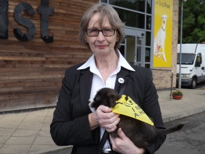 Jean with Ben Hope, one of the centre's puppies