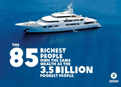 "Photo of luxury yacht, captioned ""The 85 richest people own the same wealth as the 3.5 billion poorest people. -- Oxfam"""