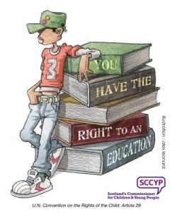 """Cartoon of a child leaning against a stack of huge books. On the books is the message """"You have the right to an education."""" Image by Scotland's Commissioner for Children and Young People"""