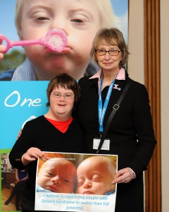 Jean Urquhart with Down's Syndrome Scotland spokesperson Kim Scott