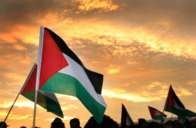 Palestine flags at sunset