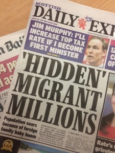 Daily Express, Wednesday 26 November 2014. Headline reads: 'HIDDEN' MIGRANT MILLIONS