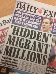 Daily Express, Wednesday 26 November 2014. Headline reads: 'HIDDEN' MIGRANT MILLIONS