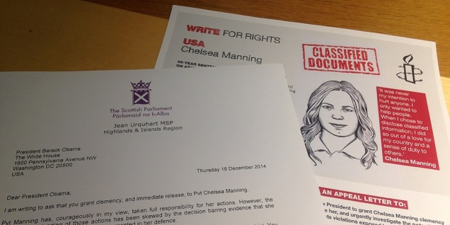 Amnesty Write for Rights Chelsea Manning letter